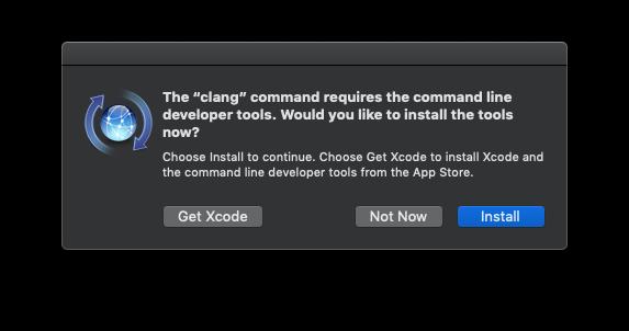 Developer tools installation dialog